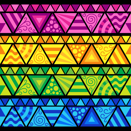 Set of Universal Seamless Patterned Border of Blue, Green, Pink, Yellow Triangle on Black Backdrop. Creative Flat Design of Geometric Ornament. Иллюстрация
