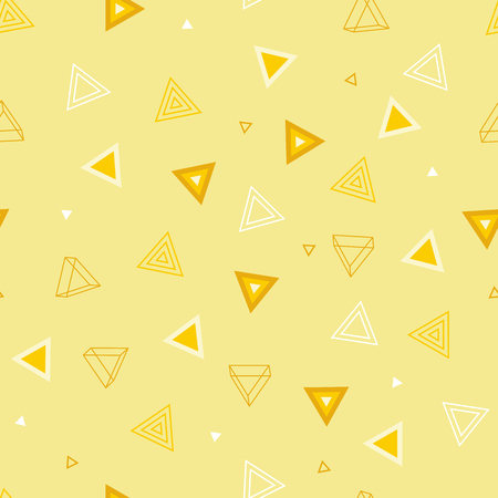 Geometric Tender Seamless Pattern of Yellow Triangles on Light Backdrop. Continuous Minimal Delicate Background for Babys Stuffs and Childrens Products.