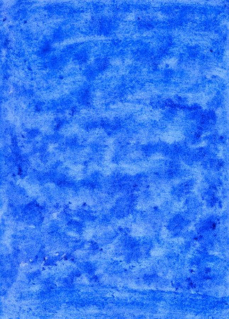Bright Abstract Blue Hand-Drawn Watercolor Background. Aquarelle Texture of Wet Paints.