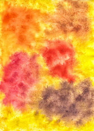 Abstract Bright Hand-Drawn Background Watercolor Spots. Orange, Red, Pink and Brown Drips Of Paint on Yellow Backdrop.