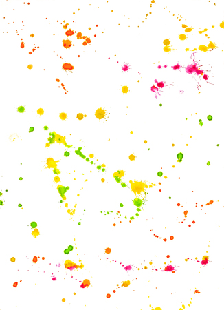Abstract Colorful Hand-Drawn Background Watercolor Splashes. Green, Orange, Pink, Yellow Painting Blots on White Backdrop.
