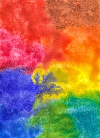 Abstract Bright Colorful Hand-Drawn Background Watercolor Spots. Colored Rainbow Drips Of Paint. Фото со стока