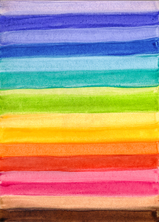 Bright Creative Striped Colorful Hand-Drawn Watercolor Background. Colored Aquarelle Texture of Wet Paints.