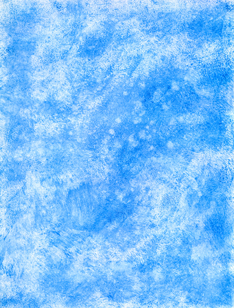 Abstract Textural Winter Blue Hand-Drawn Watercolor Background. Aquarelle Texture of Wet Paints. Фото со стока