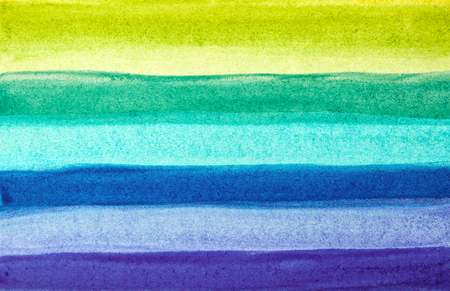 Bright Striped Hand-Drawn Watercolor Background. Colored Aquarelle Texture of Green, Blue, Cyan, Violete Paints Stripes.