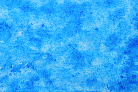 Bright Creative Blue Hand-Drawn Watercolor Background of Cool Color. Aquarelle Texture of Wet Paints.