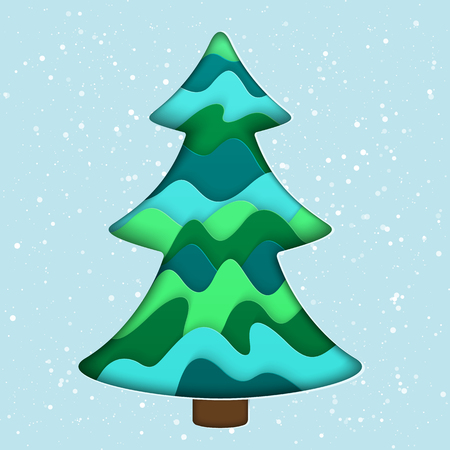 Realistic 3D Paper Cut Isolated Christmas Tree. Stylized Paper New Year Design Element.