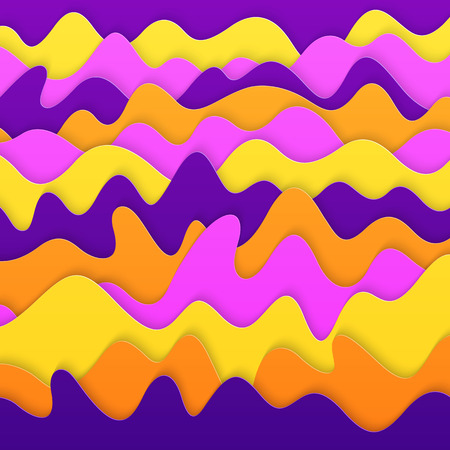 Universal Abstract Realistic 3D Paper Cut Background. Stylized Texture of Paper Violet, Yellow, Orange, Pink Colors.