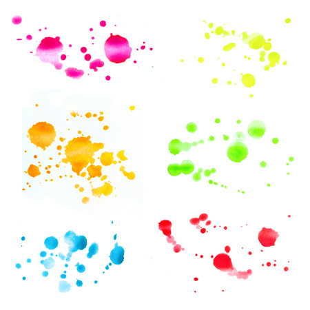 Set of Design Elements Watercolor Colored Spots Isolated on White Background. Collection of Aquarelle Blotches of Different Colors. Фото со стока