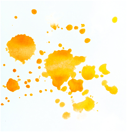 Set of Design Elements Watercolor Orange Blobs Isolated on White Background. Collection of Different Aquarelle Spots.