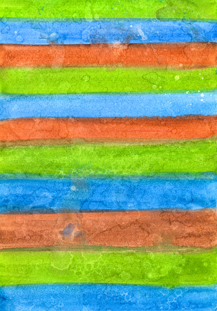 Abstract Gradient Striped Hand-Drawn Watercolor Blue, Green and Brown Background. Aquarelle Texture of Wet Paints.