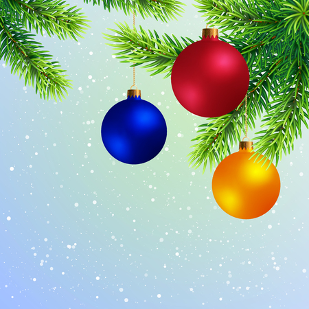 Christmas Tree Twigs with Colored Balls on Snowy Background. New Year Template with Fir Branch with Toys. Иллюстрация