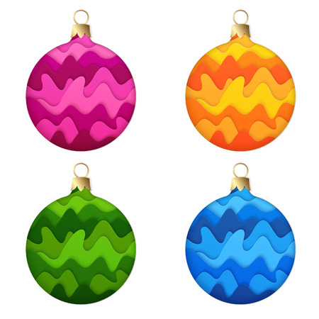 Set of Isolated Design Elements Realistic 3D Paper Cut Christmas Balls. Kit of Colored Stylized Paper New Year Baubles. Иллюстрация