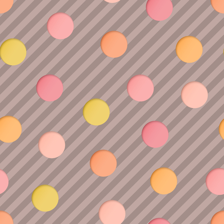 Seamless Pattern with Pink, Beige, Yellow Paper Cut Circles on Brown Striped Backdrop. 3d Paper Art Concept with Polka Dot. Иллюстрация
