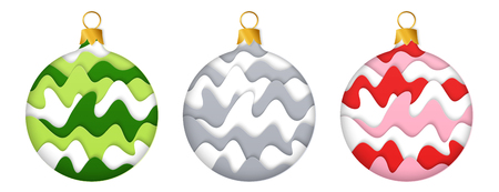 Set of Isolated Design Elements Realistic Striped 3D Paper Cut Christmas Baubles. Kit of Colored and Monochrome Stylized Paper New Year Balls. Иллюстрация