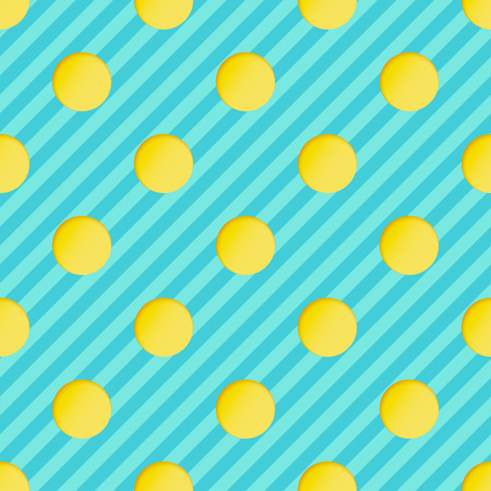 Seamless Pattern with Yellow Paper Cut Circles on Blue Striped Backdrop. 3d Paper Art Concept with Polka Dot.