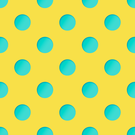 Seamless Pattern with Turquoise Paper Cut Circles on Yellow Backdrop. 3d Paper Art Concept with Polka Dot. Иллюстрация