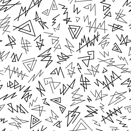 Abstract Graphic Uncolored Seamless Pattern of Black Angular Lines Scribbles on White Backdrop. Monochrome  Continuous Simple Background for Cloth, Fabric, Textile, Tissue, Pack Paper, Wrapping Paper.