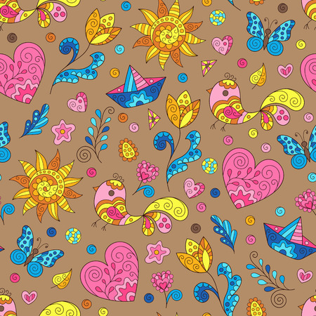 Bright Childish Spring Seamless Pattern with Heart, Sun, Flower, Bird, Leaf, Boat. Doodle Art of Colorful Figures on Brown Background.