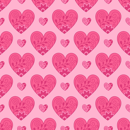 Bright Romantic Seamless Pattern of Pink Hearts on Light Backdrop. Continuous Symmetric Hand-drawn Background for Cloth, Fabric, Textile, Tissue, Pack Paper, Wrapping Paper.