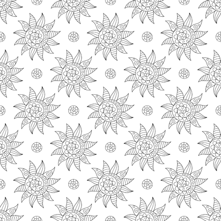 Design of Page for Coloring Book with Seamless Pattern of Hand-drawn Suns. Continuous Symmetric Colorless Background in Doodle Art Style.