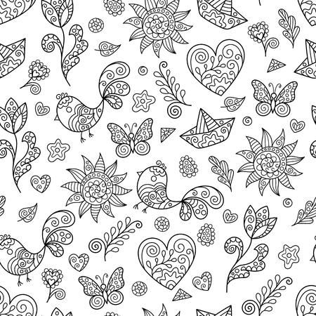 Design of Page for Coloring Book with Seamless Pattern with Spring Contour Figures. Doodle Ornament for Anti-Stress Therapy.