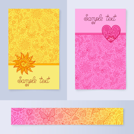 Set of Pink and Yellow Spring Cards or Banners Design with Pattern with Spring Contour Figures for Text, Stickers, Messages, Flyers. Kit of Templates for Gift Cards, Greeting Cards, Postcards.