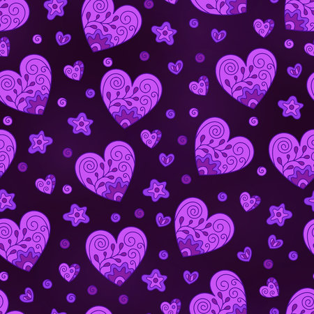 Romantic Seamless Pattern of Lilac Hearts on Dark Backdrop. Bright Continuous Asymmetric Hand-drawn Background in Doodle Style. Иллюстрация