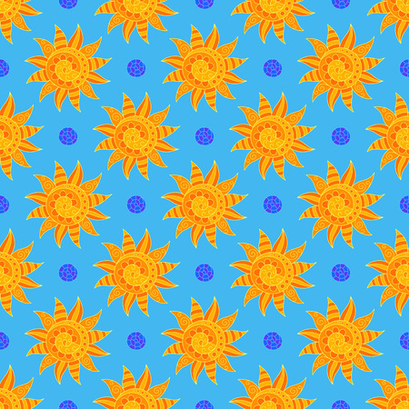 Bright Sunny Seamless Pattern of Hand-drawn Yellow Suns on Light Blue Backdrop. Continuous Symmetric Background in Doodle Art Style.