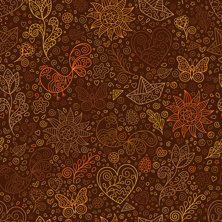 Spring Seamless Pattern with Contour Heart, Sun, Flower, Bird, Leaf, Boat on Brown Backdrop. Doodle Art.