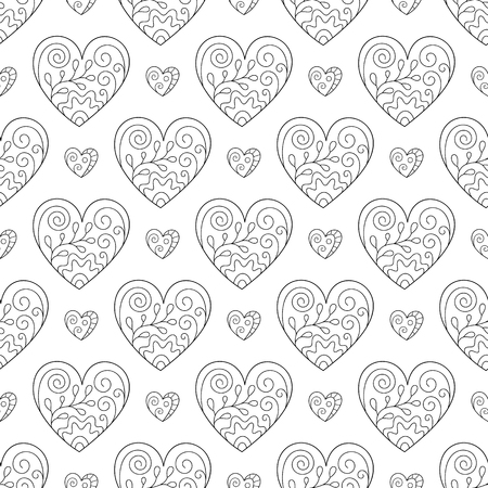 Black and White Romantic Seamless Pattern of Contour Hearts on White Backdrop. Continuous Symmetric Hand-drawn Background in Doodle Style for Design of Page for Coloring Book. Иллюстрация