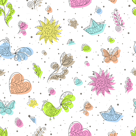 Child Seamless Pattern with Spring Contour Figures of Tender Colors on White Backdrop. Continuous Doodle Background for Cloth, Fabric, Textile, Tissue, Pack Paper, Wrapping Paper.