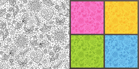 Set of Seamless Pattern with Black and White, Blue, Green, Yellow, Pink Spring Contour Figures. Kit of Design Doodle Ornaments of Different Colors. Иллюстрация