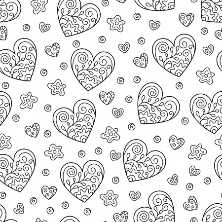 Black and White Seamless Pattern of Contour Hearts on White Backdrop. Continuous Asymmetric Hand-drawn Background in Doodle Style for Page of Coloring Book. Иллюстрация