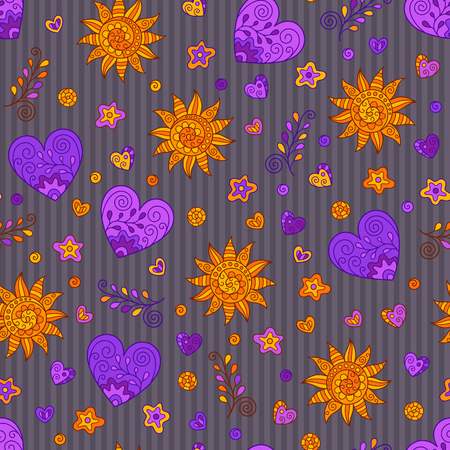 Bright Hand-drawn Seamless Pattern of Hearts and Suns Doodles on Striped Backdrop. Continuous Background in Creative Line Art Style. Иллюстрация