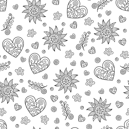 Monochrome Seamless Pattern of Hearts and Suns Doodles. Continuous Background in Creative Line Art for Page of Coloring Book.