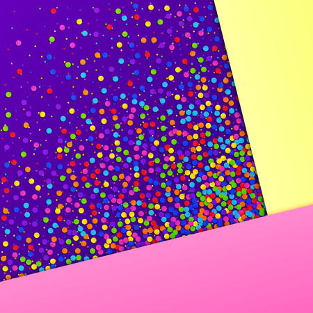Abstract Colorful Realistic Confetti Background with Pink, Yellow, Violet Sheets of Paper. Universal Colored 3D Paper Backdrop.