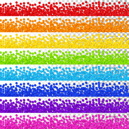 Isolated Rainbow Confetti Stripes Pattern Continuous to Right and to Left on Transparent Background. Seamless Border of Blue, Green, Orange, Red, Pink, Violet, Yellow Confetti. Иллюстрация