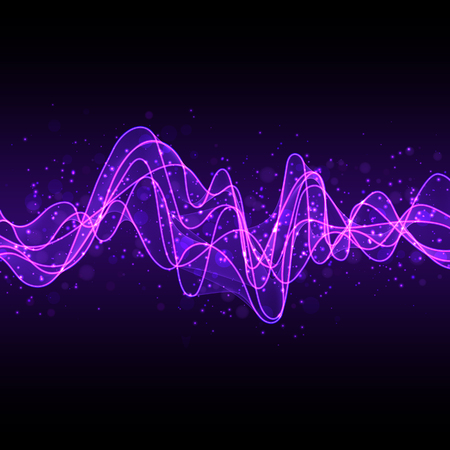 Design Element Stylized Glowing Luminescent Abstract Violet Wave Line for Dark Background. Smooth Wavy Horizontal Curved Line with Effect of Shimmering Flying Particles.