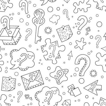 Seamless Patterns of Black Hand-drawn Contour Question Marks on White Backdrop. Uncolored Silhouette Continuous Background for Page of Coloring Book.