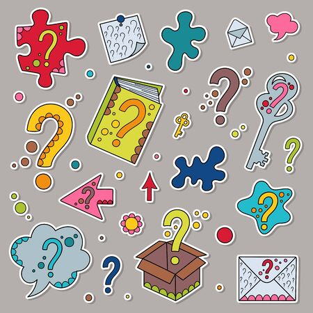 Set of Cartoon Stickers Colored Question Marks. Kit of Different Design Elements Isolated Patches of Childish Symbols.