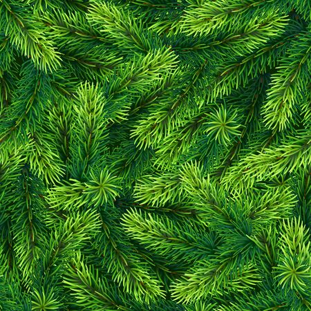 Seamless Pattern of Realistic Green Christmas Pine Tree Branches. Continuous Background with Twigs of  Evergreen Christmas Fir Tree. Banco de Imagens