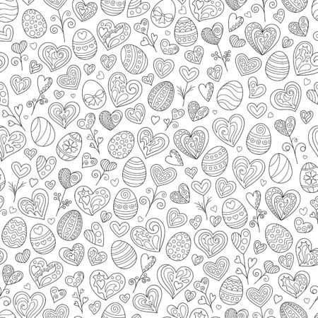Cartoon Celebratory Seamless Pattern of Black Outline Doodles Easter Eggs and Hearts on White Background. Cute Continuous Monochrome Hand-drawn Background for Page of Coloring Book.