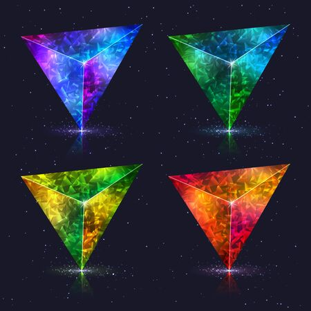 Set of Abstract Stylized Realistic Design Elements 3D Crystals Triangles Isolated on Dark Background. Kit of Decorative Different Colorful Geometric Symbols Stylization of Gemstone.