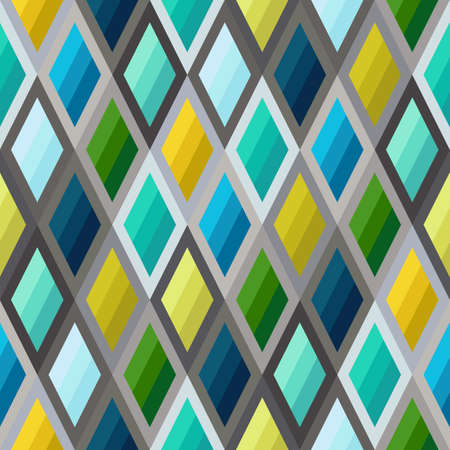 Geometric Seamless Pattern of Striped Rhombuses of Blue, Green, Mint, Yellow Colors. Continuous Symmetric Background from Simple Geometric Figures.