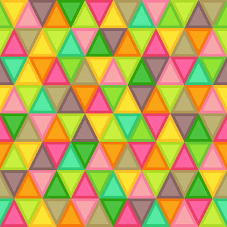 Geometric Seamless Pattern of Triangles of Brown, Crimson, Lime, Green, Orange, Red, Pink, Yellow Colors. Continuous Flat Symmetric Background of Simple Geometric Triangular Figures.