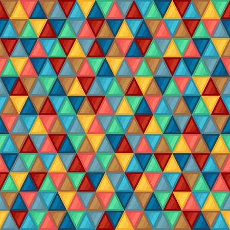 Geometric Seamless Pattern of Triangles of Blue, Brown, Coral, Green, Gray, Turquoise, Yellow Colors. Continuous Flat Symmetric Background of Simple Geometric Triangular Figures. Ilustração