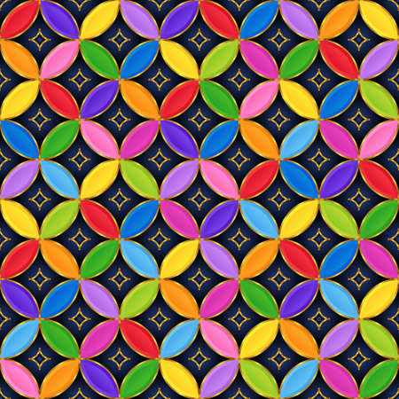 Abstract Geometrical Bright Colorful Seamless Pattern of Overlapping Circles. Colored Continuous Background for Universal Application.