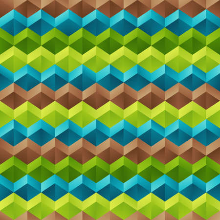 Geometrical Universal Abstract Symmetric Seamless Pattern of Blue, Brown, Green Rhombuses. Bright Gradient Continuous Background of Geometric Elements. Ilustrace