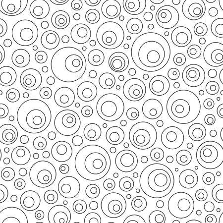 Black and White Contour Seamless Pattern of Simple Geometric Figures Circles for Page of Coloring Book. Geometrical Universal Abstract Minimalistic Continuous Background. Ilustrace